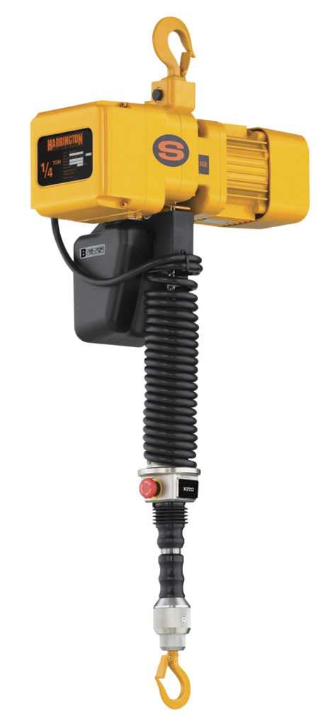Harrington ER2 electric chain hoist with sliding handle
