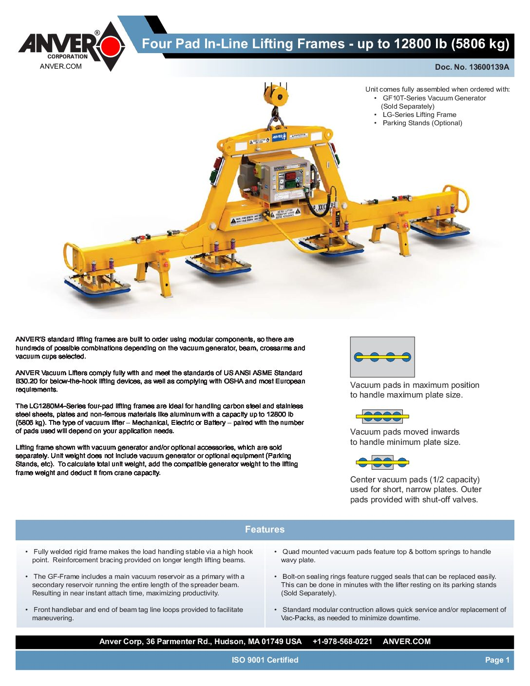 Anver Vacuum Pad Lifting Frames 4 pad inline Spread Sheet pdf