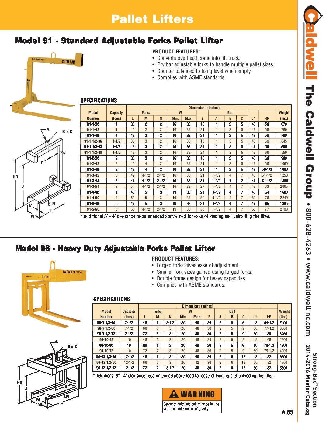 Caldwell STRONG BAC Heavy Duty Adjustable Forks Pallet Lifter Spread Sheet pdf